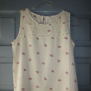 FRENCHI rose print tank with darling lace detail